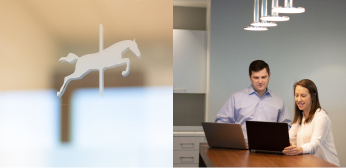Side by Side of Carousel Logo on Glass and Man and Woman at Laptop